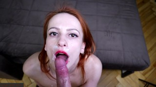 compilation of cum in mouth on face & throat / redhead babe loves to swallow cum / contest