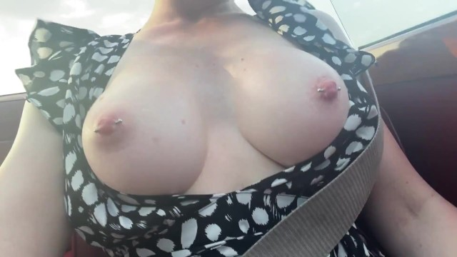 Flashing perfect tits IN PUBLIC - exposing herself outside 2