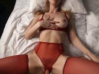 Amazing girl passion pov cumshot onto...