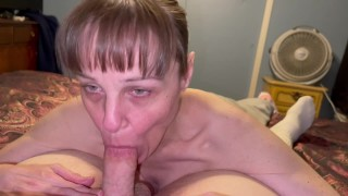 Granny sucking him dry. Showing cum in mouth and swallows