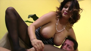 curvy brunette dominant doll babe dominate her lover with a teasing femdom handjob