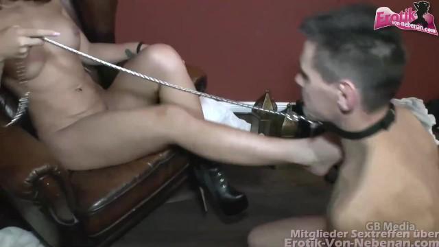 Leck Sklave muss seine Herrin nachdem sie bei dem Gruppensex besamt wurde sauber lecken 19