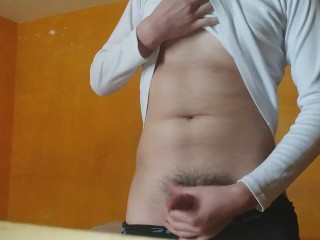 With tasty cock solo masturbating for his girlfriend...