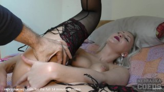 bleached blonde favorite samanta black stockings dp anal stretched extreme tiny pussy