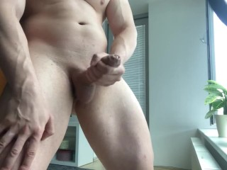 Hot Muscular Guy Moans And Cums After 2 Hour Edging ( Huge Cumshot )