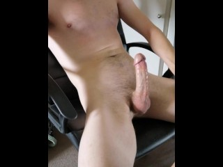 Guy shoots a massive cum load after edging his throbbing cock