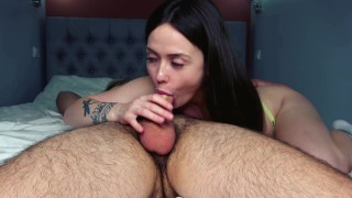 Hot college girl Nikki with big butt and natural tits sucks huge cock very deep 4K 60FPS