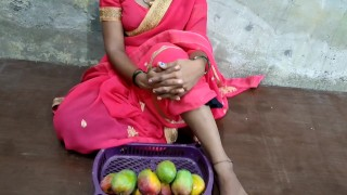 Indian poor girl selling a mango and hard fucking