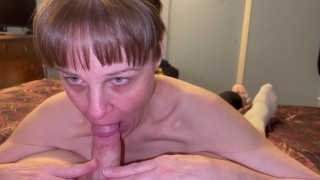 Granny sucking him dry and showing cum in mouth and swallowing every last drop.