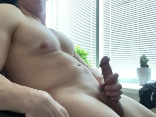 Hot Sexy Guy Jerking Off And Moaning Thick Cock During Online Class