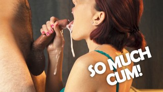Messy oral creampie! She sucks every drop of cum out of his cock and it drips down her tongue.