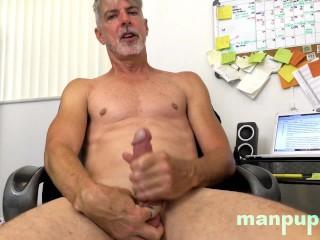 Daddy in jockstrap eats cum wad cam manpuppy...