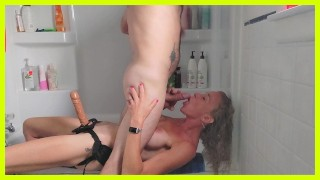 SENSUAL STRAPON SUCK - FACEFUCK Blowjob - PASSIONATE PEGGING my Husband giving a him a Good ASS FUCK