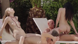 ULTRAFILMS Timea Bella and Daniella Rose invite a couple of guys to fuck them outdoors