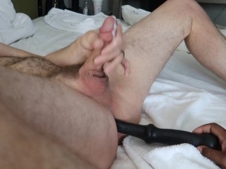 Wife pegs his ass with 8 inch dildo until he cums!