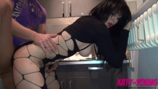 Cheating Slut fucks her new neighbour in the Kitchen and tastes his cum - KATY