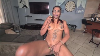 Indian slut using herself as a human ashtray.