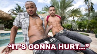 ITS GONNA HURT - Latin Guy, Malek Steel, Tries Izzy's Big Black Cock On For Size