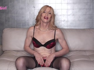 Kacy TGirl Teases in Bra, Panties & Stockings