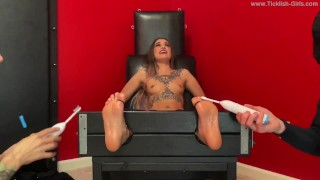 Jazmine Topless and Double Teamed in the Tickle Chair - (preview)