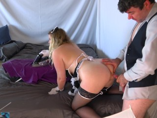 Juicy maid takes her boss's hard cock in any hole