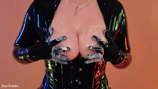 Amazing latex rubber catsuit videos compilation by model Arya Grander free fetish porn video