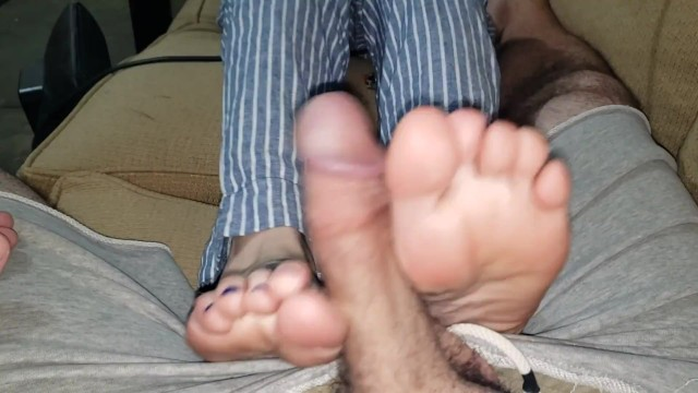 Teasing building up cum cock play with my feet 18