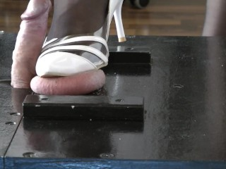 Balls trampling with heels barefoot by with cumshot...