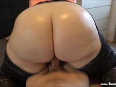 Horny step-sister seduced brother with her juicy giant oiled ass