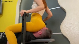 Full Weight Facesitting and Face Destruction Femdom In Leggings With Mistress Kira