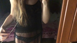 lesbian girl seduces at the mirror. Lesbian dance while her girlfriend is in the shower