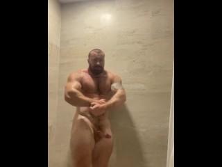 Part 2 bodybuilder giant cock shower onlyfansbeefbeast flexing...