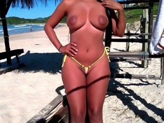 Micro bikini show pussy and boobs around...