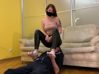 Cruel domina black leggings uses her slave like...