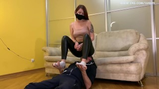 Cruel Domina Sofi In Black Leggings - Full Weight Facesitting and Uses Her Slave Like a Chair