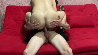 hot brunette riding hard on cock until she gets cum in her ass and enjoys
