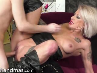 LustyGrandmas Kinky GILF Tames Obedient Dude's Pulsating Cock