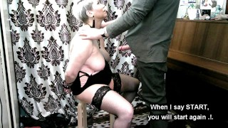 Hot slut wife training! My handcuffed bitch is kneeling in front of me and sucking my dick...