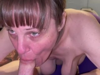With her hanging creampie...