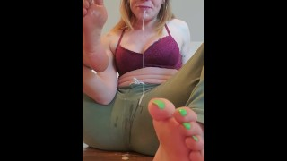 Foot Gagging Queen Aderes Quin First Self Foot Gagging Video with Deep Spit Dripping from Her Feet