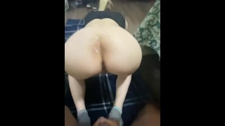 Making His Wife Take Every Inch; Quickly Creampied & Told To Leave It For Her Husband Later!