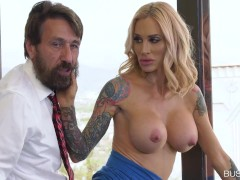 Big Breasted MILF Sarah Jessie Pussy Nailed on the Office Table
