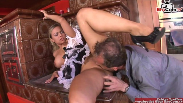 Hot maid with big tits and pretty face is into kinky sex with the master of the house 14