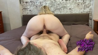 Wife fucks with her lover while her husband is fishing   Cumshot on the mistress's ass