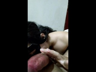 My neighbor sucks my cock till' I cum on her face