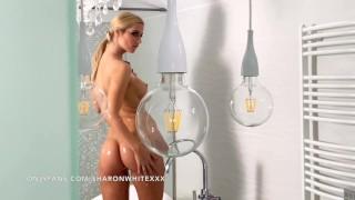 Neighbour's hot wife showering naked -seductive big boobs SHARON WHITE