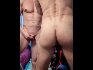 Two guys getting naked and horny...