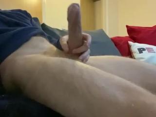 Horny cock wanks hard over naked body...