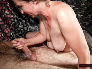 Ice Cube Play with Natural MILF Tits, Hairy Pussy, and Cock; Squirting; Overflowing Cum in Mouth