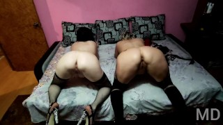 Double fuck of cheap and old Russian whores in stockings and heels